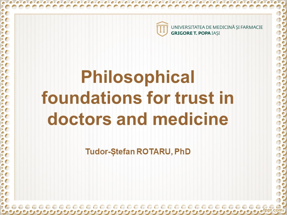 Philosophical foundations for trust in doctors and medicine